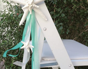 Beach Wedding Set of 10 Starfish Chair Decorations - 24 Ribbon Choices - coastal nautical star fish pew decoration