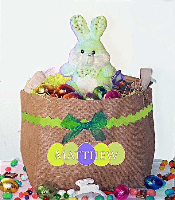 Personalized Easter Basket, Large Easter Bucket, Burlap Basket, Children's Egg Basket, Bunny Basket, Toy Storage, Room Decor, Decorations