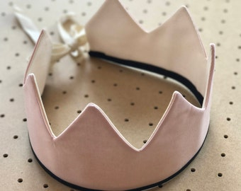 Fabric Crown / Sweet Pink and Ecru