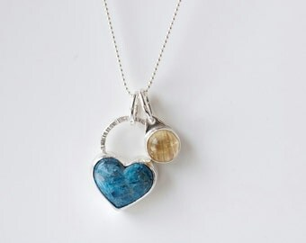 Charm necklace with blue gemstone heart and cat's eye rutilated quartz, blue heart pendant, apatite, teal gemstone jewelry, valentines gift