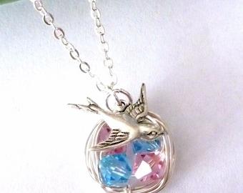 Original Version - 4 Swarovski Bird Nest (2 Boys & 2 Girls Nest), Sparrow Bird Necklace in Sterling Silver Chain