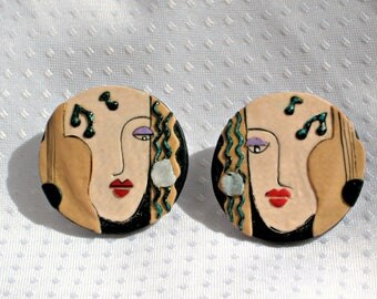 Neo Expressionist Earrings Handmade Vintage 80s Fabric Art Jewelry