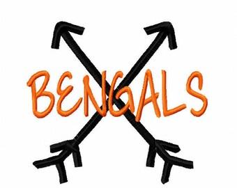Bengals Cross Arrows Machine Embroidery Design 4x4 5x7 6x10 Team Instant Download Basketball Football Baseball Softball Little League Cheer