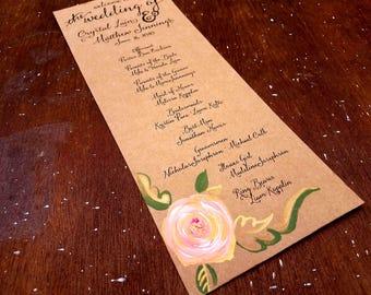 garden wedding program simple wedding program country wedding program outdoor wedding program arboretum wedding hand painted program