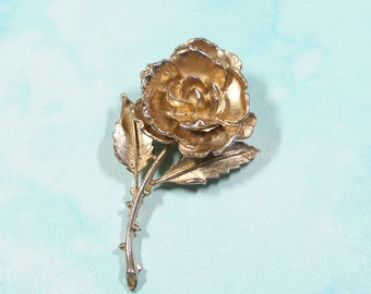 Gold Rose Brooch, Large Vintage Rose Pin, Flower Jewerly,Vintage Women's High Fashion Jewelry