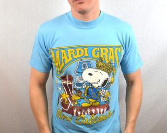 RARE Vintage 80s Snoopy Artex Tshirt Tee Shirt - Mardi Gras New Orleans