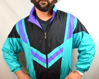 Vintage 90s Ski Green Purple Windbreaker Jacket Coat - Lavon