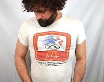 Vintage 1980s 80s Olympics Summer Games McDonalds Los Angeles LA 1984 Tee Shirt Tshirt