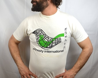 RARE Vintage 1980s 1970s Greenpeace Mermaid Whale Environmental Nature WOW Fitted Yellow Tee Shirt Tshirt