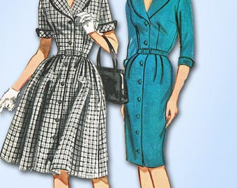 1960s Vintage Butterick Sewing Pattern 2102 Uncut Misses Shirtwaist Dress Sz 36B