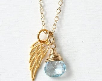 Miscarriage Necklace with December's Birthstone Sky Blue Topaz / Gold Angel Wing Necklace / Baby Loss Memorial Gift