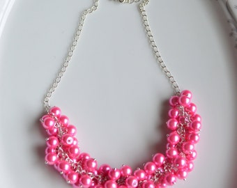 Pink pearl cluster necklace, fuschia pearl cluster necklace, pearl cluster necklace, bridesmaids necklace