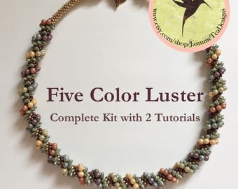 Five Color Luster Beaded Kumihimo Necklace Kit With Two Tutorials