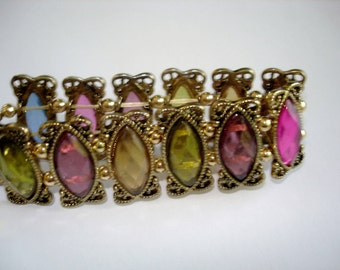 Rhinestone Bracelet Multi Color Stretch Links