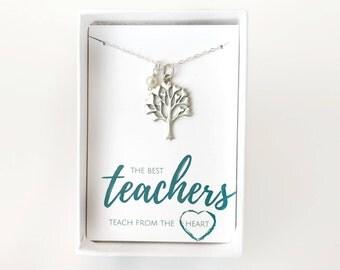 Teacher Gift Personalized - Teacher Gift Preschool - Christmas Gift for Teacher Friend - Gift for Teacher Coworker - Silver Teacher Necklace