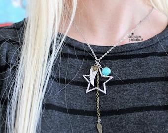 Turquoise necklace, wings and stars, La Méchante Sorcière, Petit morceau de ciel, Bohemian, boho, hippie, gypsy, sky lover, nature, bird