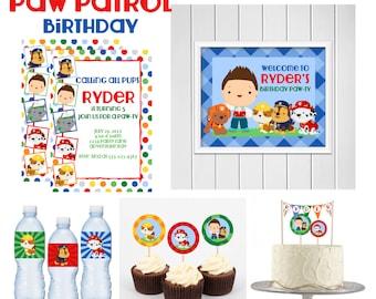 Paw Patrol Birthday Printable Kit,  Custom Puppy Party, Dog Hero Party Kit, 5x7 Party Invitations