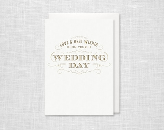 Letterpress Wedding Card - Love and Best Wishes on your Wedding Day