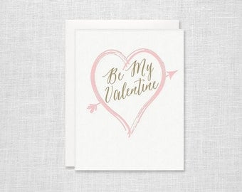 Be My Valentine Letterpress Card - Valentines Day