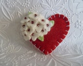 This Item Is on Hold Felt Flower Brooch Red Heart Pin Beaded Flowers Valentines Day