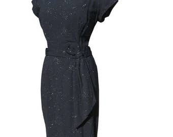 Vintage 50s Wiggle Dress Black w/ Sparkly Metallic Thread Plus Size 42 bust 34 waist L XL