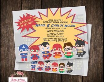 Superhero Baby Shower Invitation - Super Hero Baby Shower Invitation - Fast Customization - Superhero Onesie - Baby Superhero