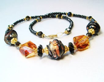Lampwork Necklace in Black and Gold, Black Spinel, Swarovski Topaz Crystal - 14K GF Bead Caps & Clasp, Lampwork Jewelry, Statement Necklace
