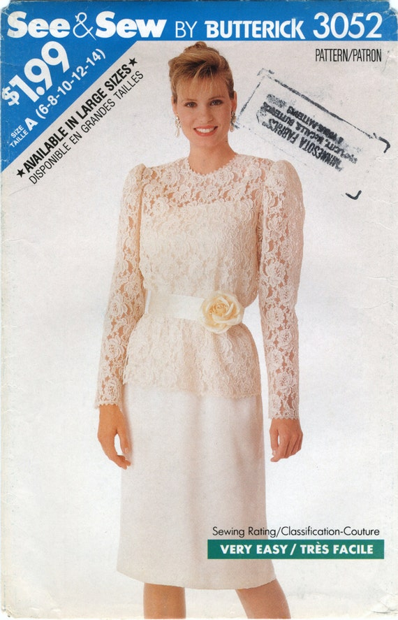 Lace top over dress sewing pattern size 6 8 10 12 14 for Lace wedding dress patterns to sew