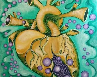 Burst (acrylic on canvas, anatomical heart, exploding, mardi gras beads, mardi gras, new orleans, louisiana, weird, heart)