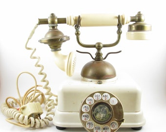 Vintage Telephone French Style Rotary Dial 1967 Japan Cream
