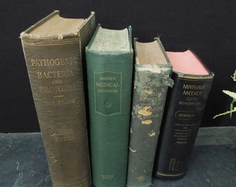 Old Medical Books - Vintage Books for Decor - Surgery Pathogenic Bacteria - Gift for Doctor Physician - Medicine Book Stack