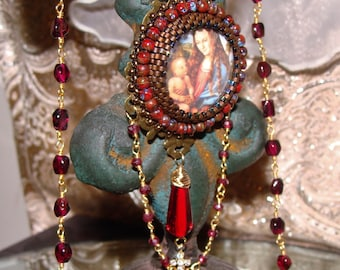 Christ and Mary garnet rosary chain bead embroidery prayer necklace Sacred Jewelry Pamelia Designs sacred love Religious Jewelry