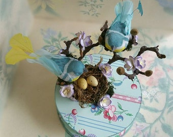 Handmade Vintage Blue Wallpaper Gift Box With Glass Glittered Birds, Moss, Twigs, Mulberry paper flowers and Nest