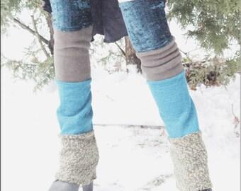 Thigh High Leg Warmers - Steampunk - Clothing Accessory - Long Sexy Socks - Knee High Leggings - Patchwork Leggings - Burning Man - One Size