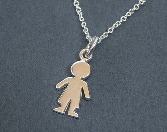Sterling Silver Boy Charm Necklace Tiny Boy Silhouette Pendant Necklace