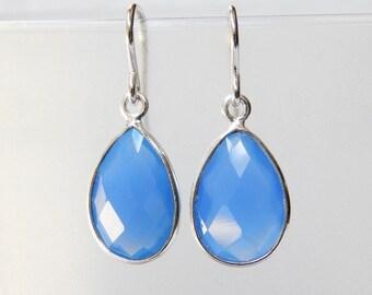 Blue Chalcedony Earrings - Sterling Silver Bezel Set Drop Earrings Faceted Chalcedony Stones Pear Cut Dangle Earrings