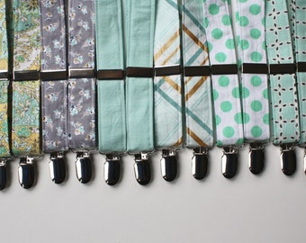 Little and Big Guy SUSPENDERS - Spring Easter - Mint Aqua Gray Collection - (Newborn-Adult) - Baby Boy Toddler Teen Man