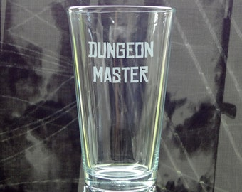 Dungeon Master - Etched Pint Glass - Etched Barware -  Tabletop RPG Drinkware - Add Name or Gamer Tag - Game Night - Gamer Gear