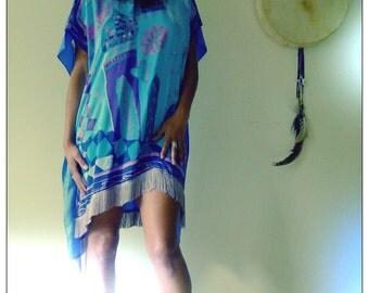 Purple & Blue Upcycled Silk Scarf Kimono Fringed Print Dress