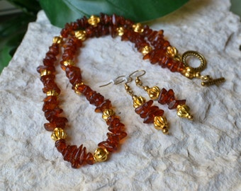 Amber Necklace - Amber Earrings - Amber Chip Neckace - Amber Chip Earrings - Amber Jewelry - Amber Gold Jewelry - Amber