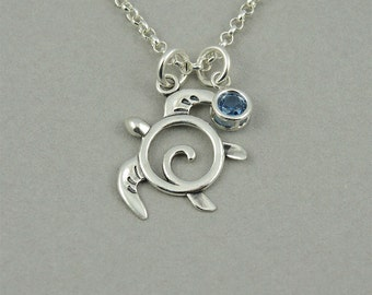 Turtle Necklace - Sterling Silver Sea Turtle Pendant, Ocean Jewelry, Teacher Gifts, Trendy Necklaces, Birthday Gift, Birthstone Necklace
