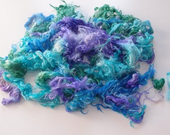 Baby Suri Alpaca hand processed Locks Hand dyed Sea surf colors purple, green, blue, turquoise shades - for felting, spinning.