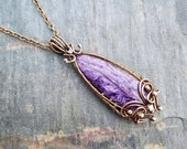 "Wire Wrapped Charoite Necklace named ""Ryllae""- Antiqued Bronze and Gemstone Necklace"