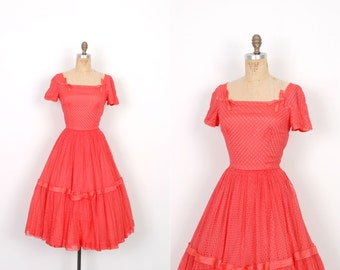 Vintage 1950s Dress / 50s Coral Eyelet Party Dress / Full Skirt (small S)