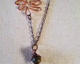 Copper Oak Leaf with Natural Stones and Acorn Charm