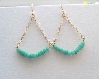 Mint green chrysophrase chandelier earrings boho jewelry