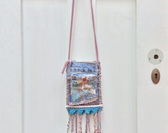 Hippie Boho Pouch Necklace, Medicine Bag, Little Purse, Gathering Bag in Blue, Turquoise, Pink