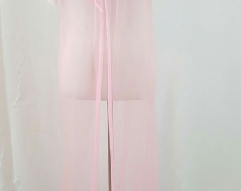 Vintage 1960s Pink Chiffon Embroidered Peignoir Robe