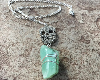 Silver Skull Necklace, Skull Crystal Necklace, Green Calcite Necklace, Green Crystal Necklace, Mint Green Necklace, Badass Crystal Jewelry