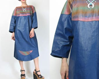 1980s Leather Dress Hand Painted Leather Art To Wear Dress Blue Leather Dolman Batwing Sleeve Dress Pullover Sac Dress (M) E3078